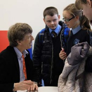 Tim talking to students at Charlton School