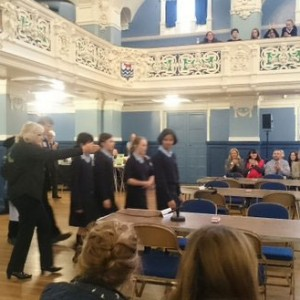 Team Howell's are led into Oxford Town Hall by Tim.